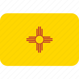 american, flag, mexico, new, rectangle, rounded, state icon