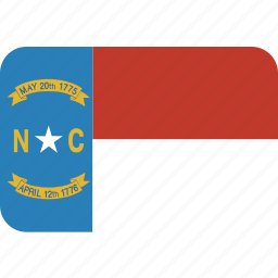 american, carolina, flag, north, rectangular, rounded, state icon