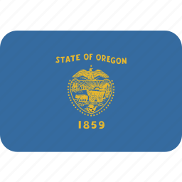 american, flag, oregon, rectangular, rounded, state icon