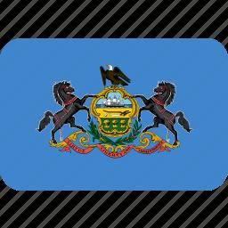 american, flag, pennsylvania, rectangular, rounded, state icon