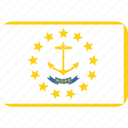 american, flag, island, rectangular, rhode, rounded, state icon
