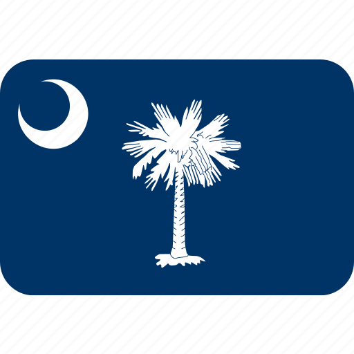 american, carolina, flag, rectangular, rounded, south, state icon