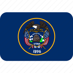 american, flag, rectangular, rounded, state, utah icon