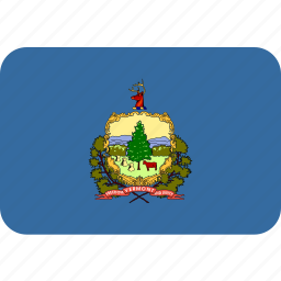 american, flag, rectangular, rounded, state, vermont icon