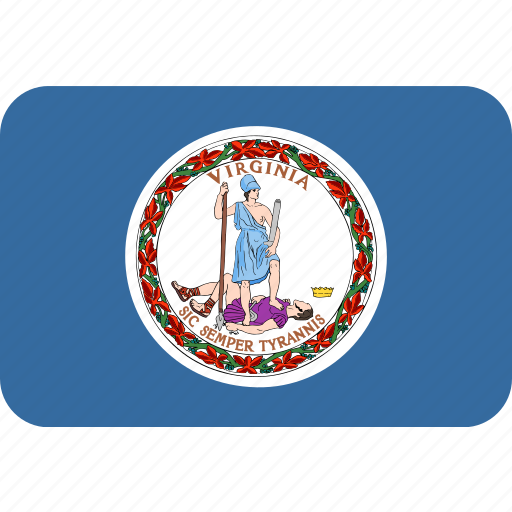 american, flag, rectangular, rounded, state, virginia icon