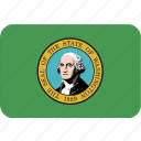 american, flag, rectangular, rounded, state, washington icon