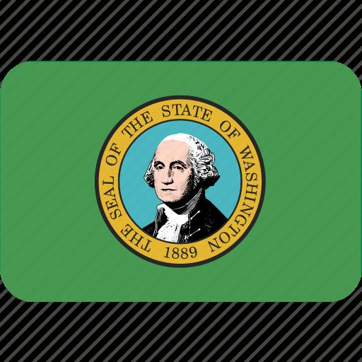 american, flag, rectangular, rounded, state, washington icon