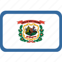 american, flag, rectangular, rounded, state, virginia, west icon
