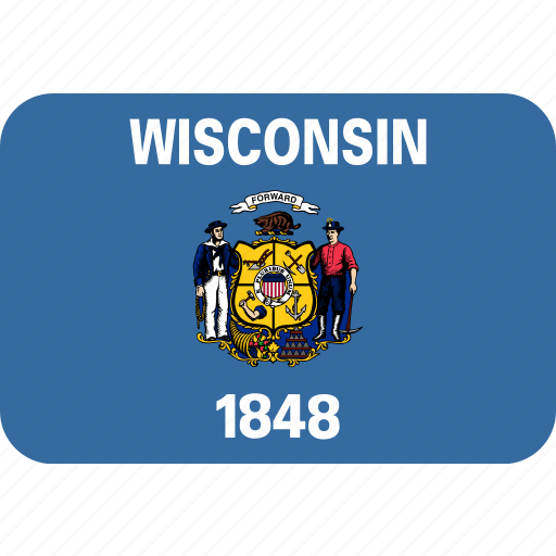 american, flag, rectangular, rounded, state, wisconsin icon