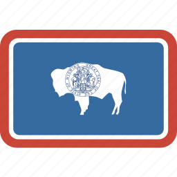 american, flag, rectangular, rounded, state, wyoming icon
