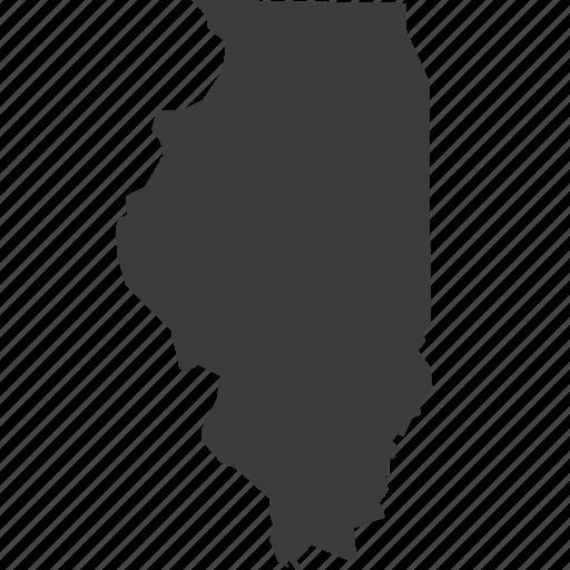 america, illinois, location, map, state, usa icon