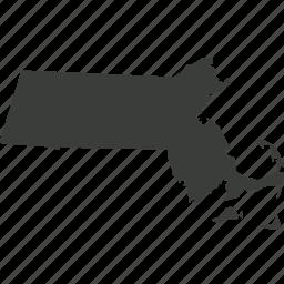 america, location, map, massachusetts, state, usa icon