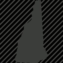 america, location, map, new hampshire, state, usa icon