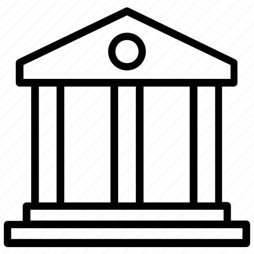 architecture, bank, building, columns building, courthouse icon