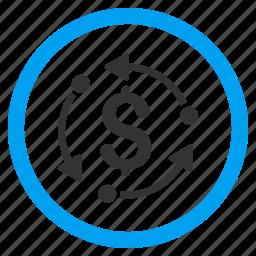 arrow, circulation, cycle, dollar, finance, financial, money rotation icon
