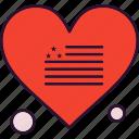 flag, heart, line, usa