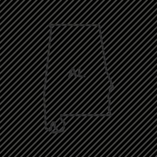 alabama, america, american state, borders, map, state, usa icon