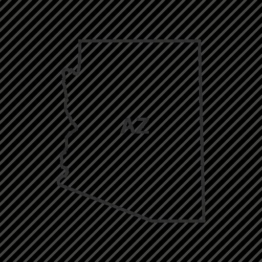 america, american state, arizona, borders, map, state, usa icon