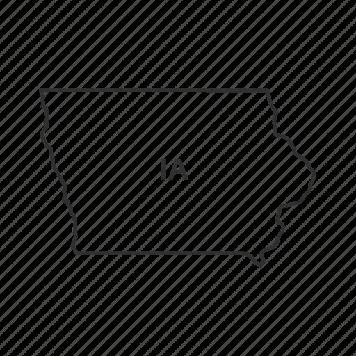 america, american state, borders, iowa, map, state, usa icon