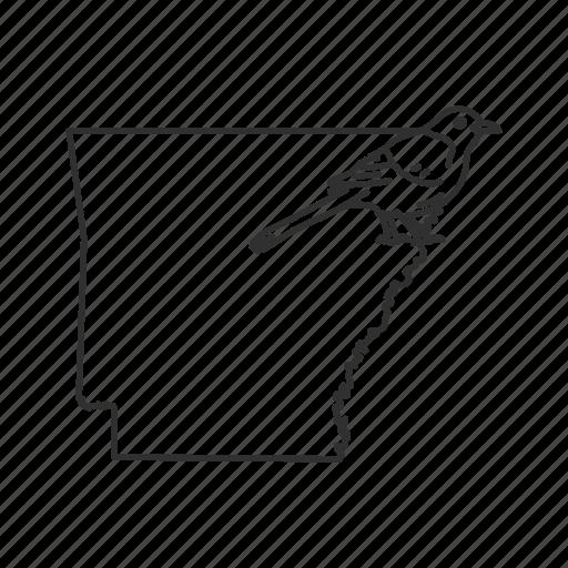 arkansas, borders, map, state, state bird, state symbol, usa icon