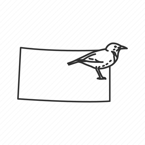 borders, kansas, map, state, state bird, state symbol, usa icon