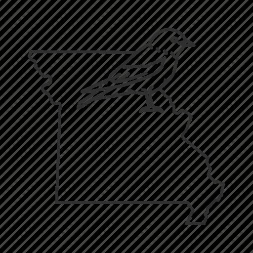 borders, map, missouri, state, state bird, state symbol, usa icon