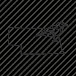 borders, map, nebraska, state, state bird, state symbol, usa icon