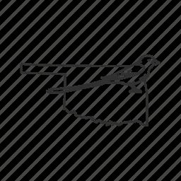 borders, map, oklahoma, state, state bird, state symbol, usa icon