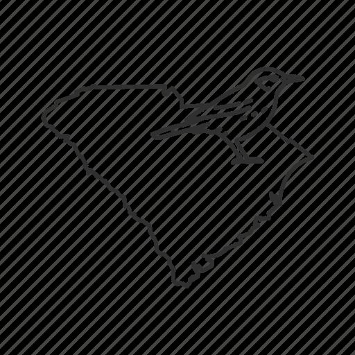 borders, map, south carolina, state, state bird, state symbol, usa icon