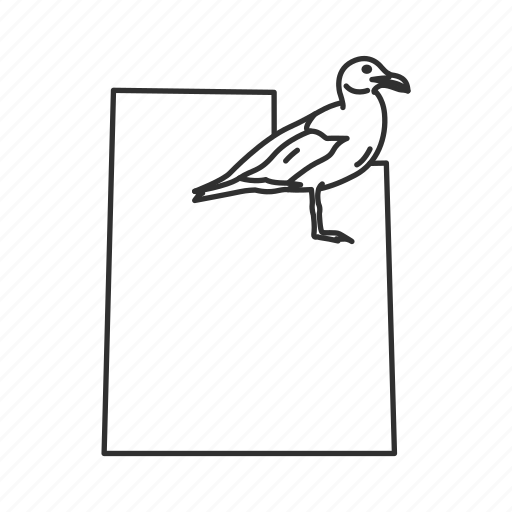 borders, map, state, state bird, state symbol, usa, utah icon