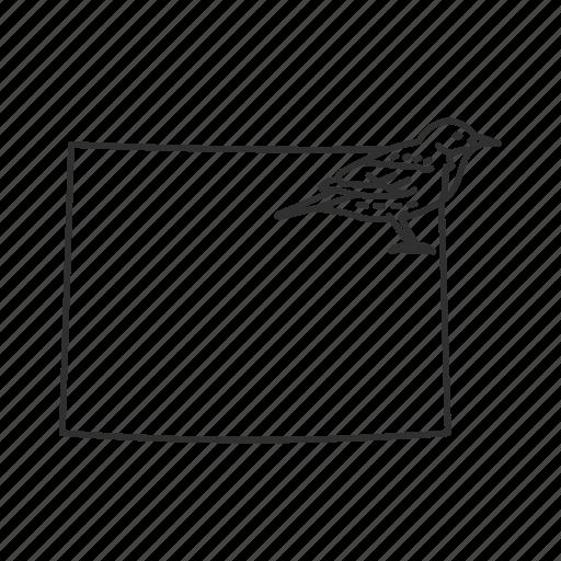 borders, map, state, state bird, state symbol, usa, wyoming icon