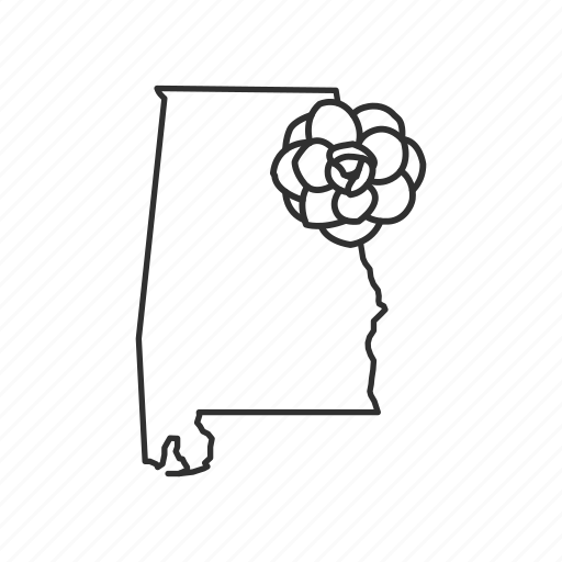 alabama, borders, map, state, state flower, state symbol, usa icon