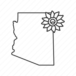 arizona, borders, map, state, state flower, state symbol, usa icon