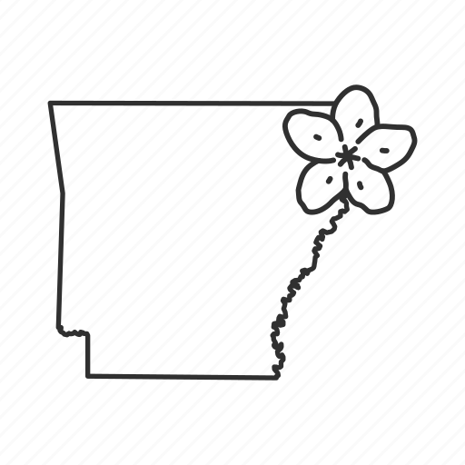 arkansas, borders, map, state, state flower, state symbol, usa icon
