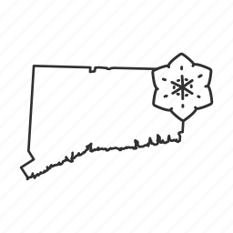 borders, connecticut, map, state, state flower, state symbol, usa icon