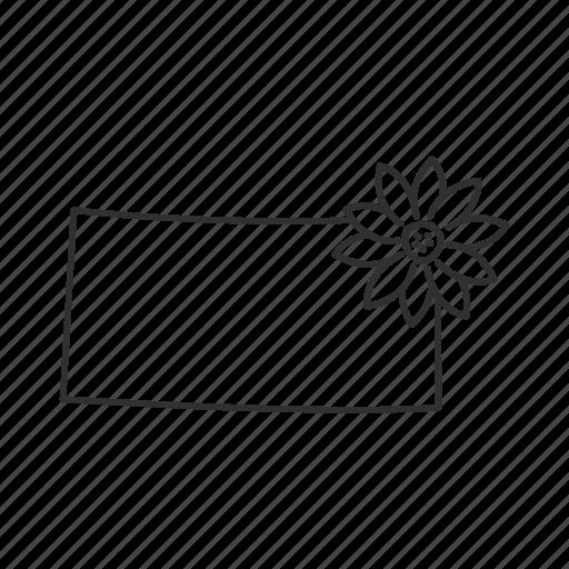 borders, kansas, map, state, state flower, state symbol, usa icon