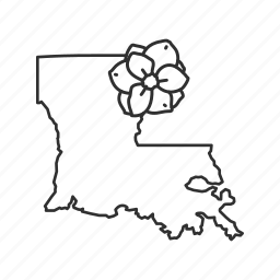 borders, louisiana, map, state, state flower, state symbol, usa icon