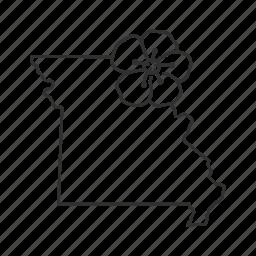 borders, map, missouri, state, state flower, state symbol, usa icon