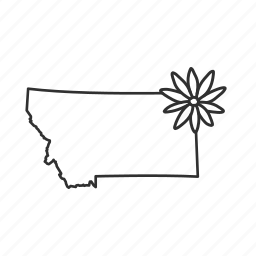 borders, map, montana, state, state flower, state symbol, usa icon