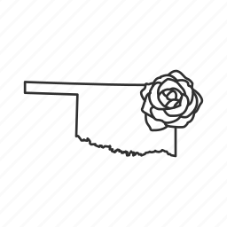 borders, map, oklahoma, state, state flower, state symbol, usa icon