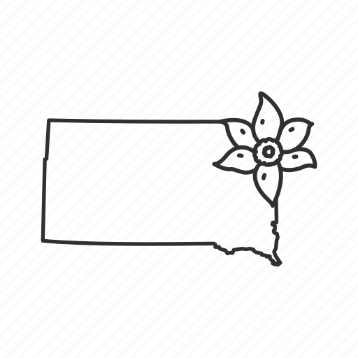 borders, map, south dakota, state, state flower, state symbol, usa icon