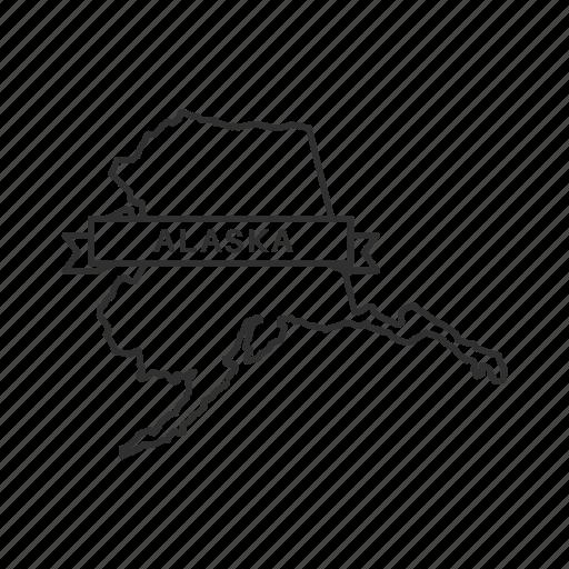 alaska, america, american state, borders, map, state, usa icon