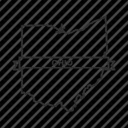 america, american state, borders, map, ohio, state, usa icon