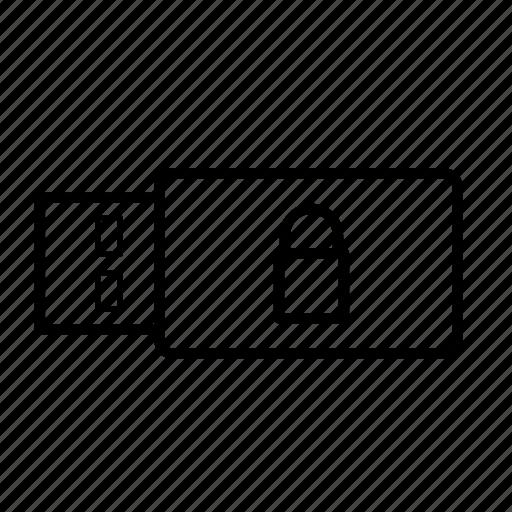 close, closed, data, encrypted, storage, usb, usb stick icon