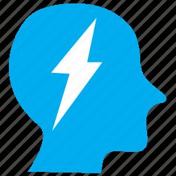 brain, energy, human, man, person, profile, user icon