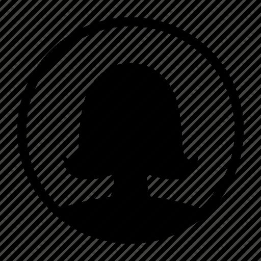 circle, dark, female, girl, profile, user, woman icon