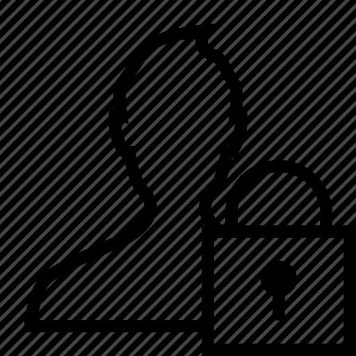 inaccessible, lock, locked, man, padlock, profile, user icon