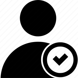checkmark, circle, user icon