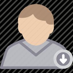 arrow, down, male, man, person, profile, user icon