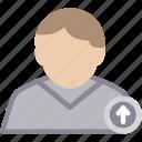 arrow, male, man, person, profile, up, user icon
